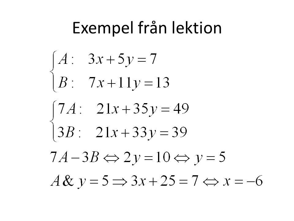 Exempel från lektion