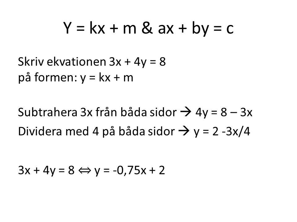 Y = kx + m & ax + by = c