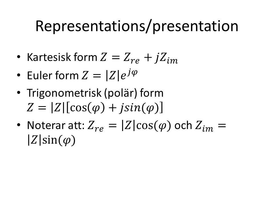 Representations/presentation