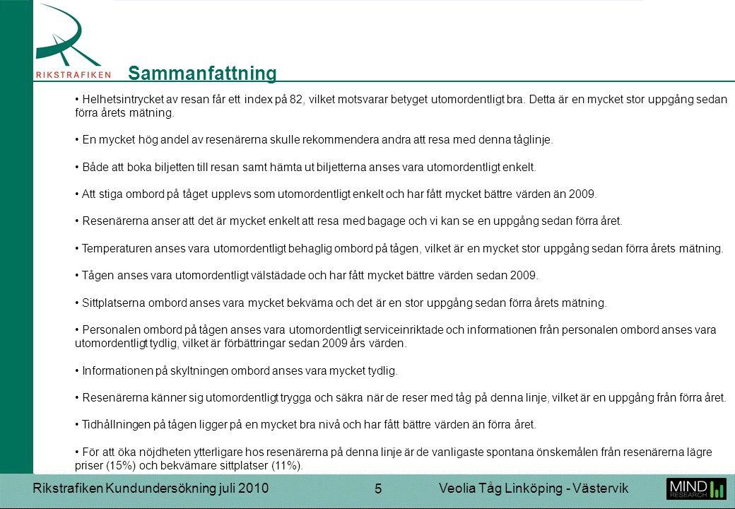 Rikstrafiken Kundundersökning juli 2010Veolia Tåg Linköping - Västervik 5 Helhetsintrycket av resan får ett index på 82, vilket motsvarar betyget utom