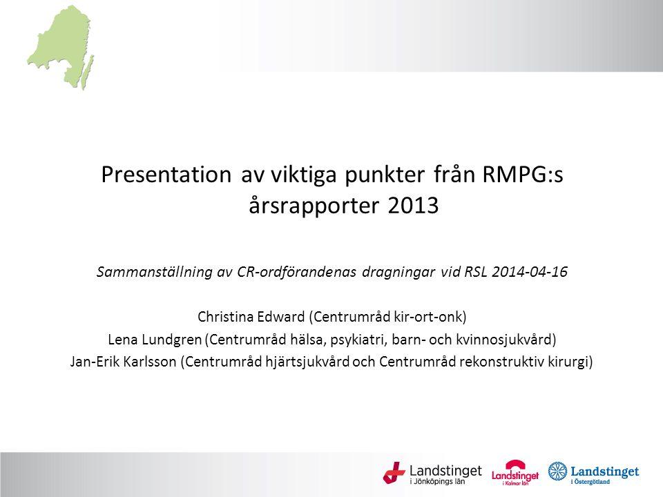Presentation av viktiga punkter från RMPG:s årsrapporter 2013 Sammanställning av CR-ordförandenas dragningar vid RSL 2014-04-16 Christina Edward (Cent