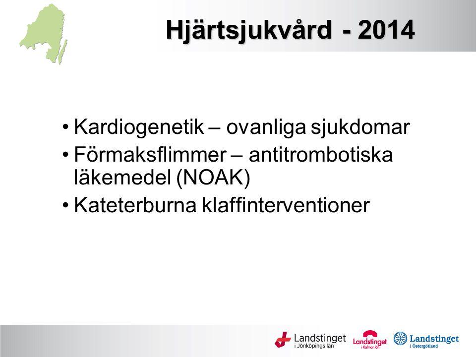 Hjärtsjukvård - 2014 Kardiogenetik – ovanliga sjukdomar Förmaksflimmer – antitrombotiska läkemedel (NOAK) Kateterburna klaffinterventioner