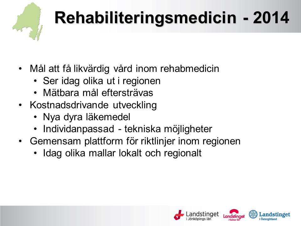 Rehabiliteringsmedicin - 2014 Mål att få likvärdig vård inom rehabmedicin Ser idag olika ut i regionen Mätbara mål eftersträvas Kostnadsdrivande utveckling Nya dyra läkemedel Individanpassad - tekniska möjligheter Gemensam plattform för riktlinjer inom regionen Idag olika mallar lokalt och regionalt