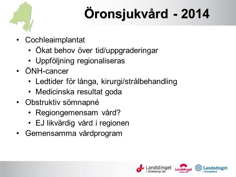 Öronsjukvård - 2014 Cochleaimplantat Ökat behov över tid/uppgraderingar Uppföljning regionaliseras ÖNH-cancer Ledtider för långa, kirurgi/strålbehandl