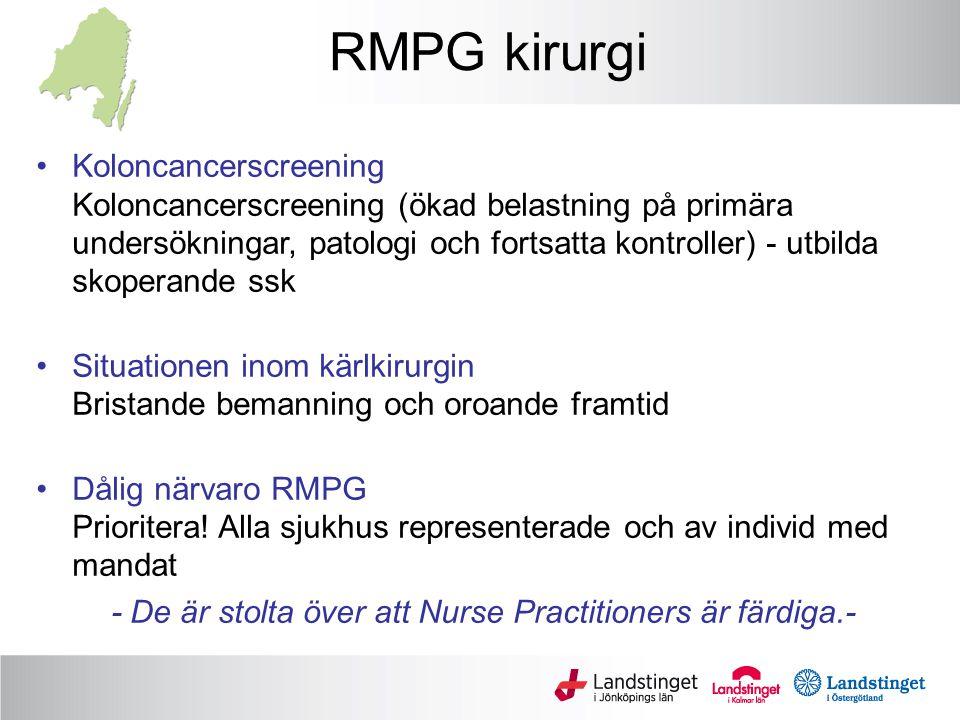 RMPG kirurgi Koloncancerscreening Koloncancerscreening (ökad belastning på primära undersökningar, patologi och fortsatta kontroller) - utbilda skoperande ssk Situationen inom kärlkirurgin Bristande bemanning och oroande framtid Dålig närvaro RMPG Prioritera.