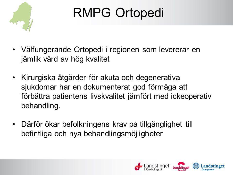 RMPG Ortopedi Välfungerande Ortopedi i regionen som levererar en jämlik vård av hög kvalitet Kirurgiska åtgärder för akuta och degenerativa sjukdomar har en dokumenterat god förmåga att förbättra patientens livskvalitet jämfört med ickeoperativ behandling.