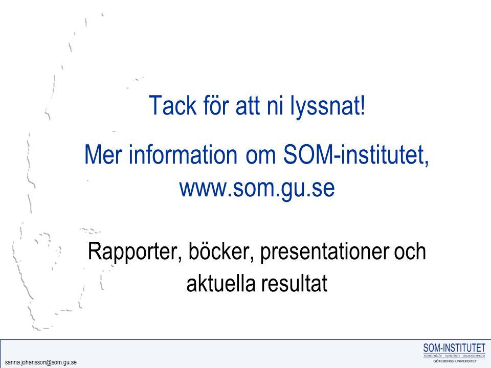 sanna.johansson@som.gu.se Tack för att ni lyssnat! Mer information om SOM-institutet, www.som.gu.se Rapporter, böcker, presentationer och aktuella res