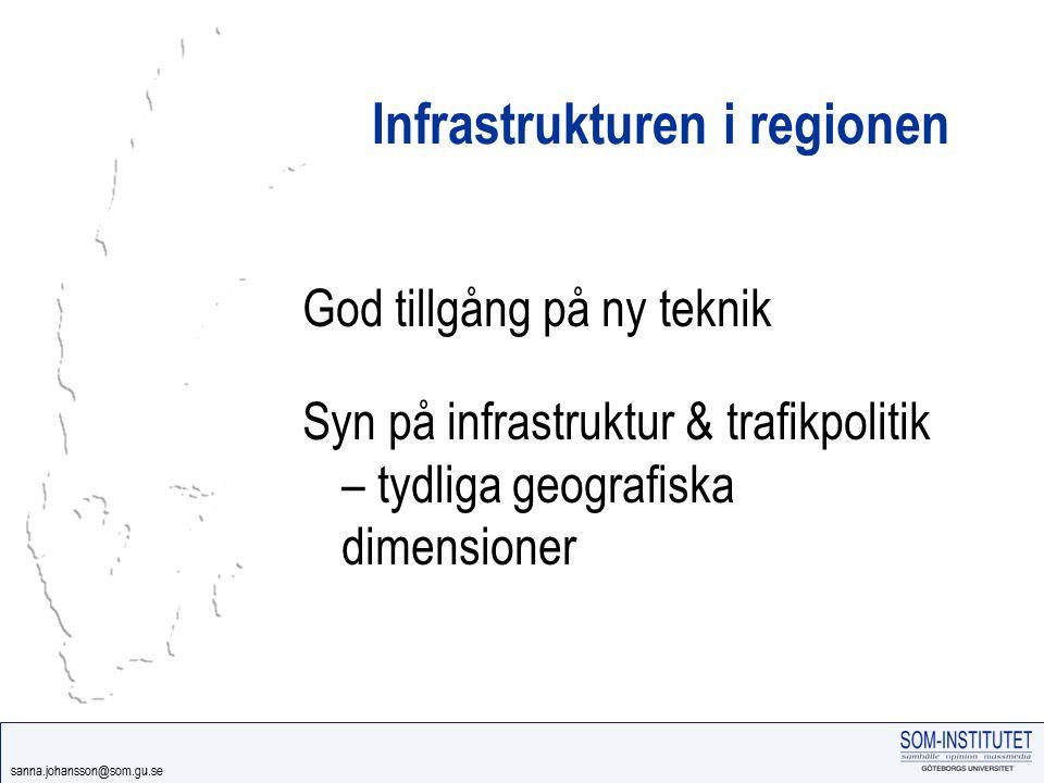 sanna.johansson@som.gu.se Infrastrukturen i regionen God tillgång på ny teknik Syn på infrastruktur & trafikpolitik – tydliga geografiska dimensioner