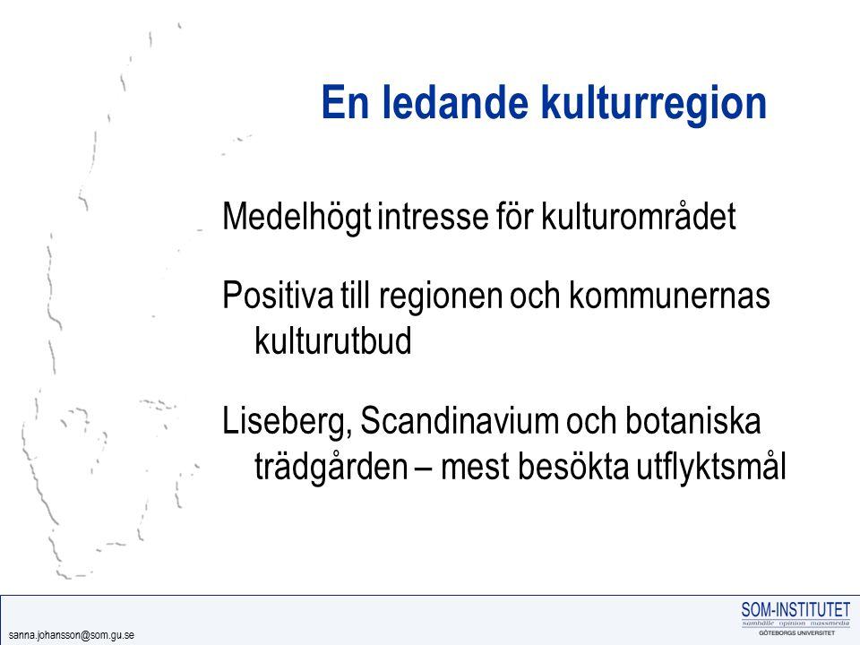 sanna.johansson@som.gu.se En ledande kulturregion Medelhögt intresse för kulturområdet Positiva till regionen och kommunernas kulturutbud Liseberg, Sc