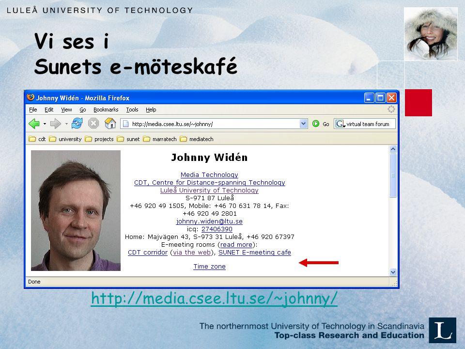 Vi ses i Sunets e-möteskafé http://media.csee.ltu.se/~johnny/