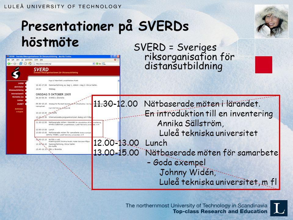 Presentationer på SVERDs höstmöte SVERD = Sveriges riksorganisation för distansutbildning 11.30-12.00 Nätbaserade möten i lärandet.