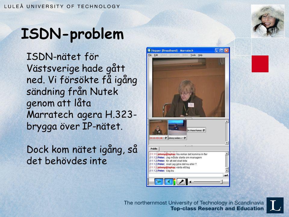 ISDN-problem ISDN-nätet för Västsverige hade gått ned.