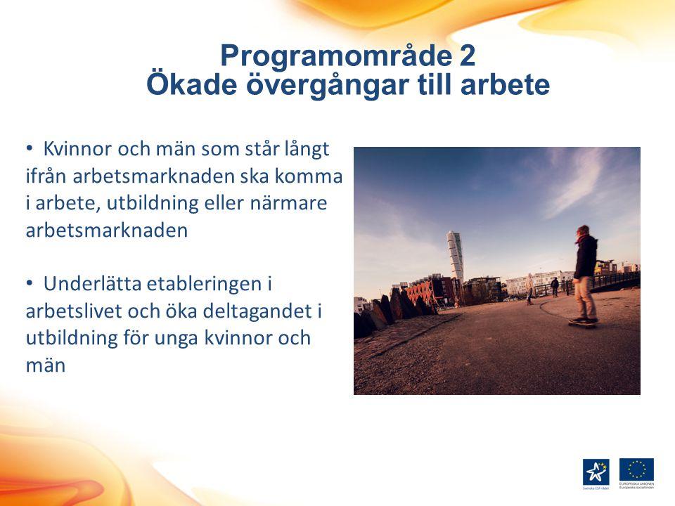 Programområde 2 Ökade övergångar till arbete Kvinnor och män som står långt ifrån arbetsmarknaden ska komma i arbete, utbildning eller närmare arbetsm