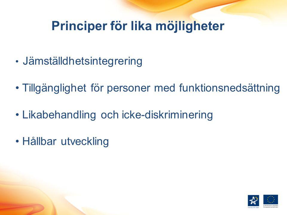 Principer för lika möjligheter Jämställdhetsintegrering Tillgänglighet för personer med funktionsnedsättning Likabehandling och icke-diskriminering Hå