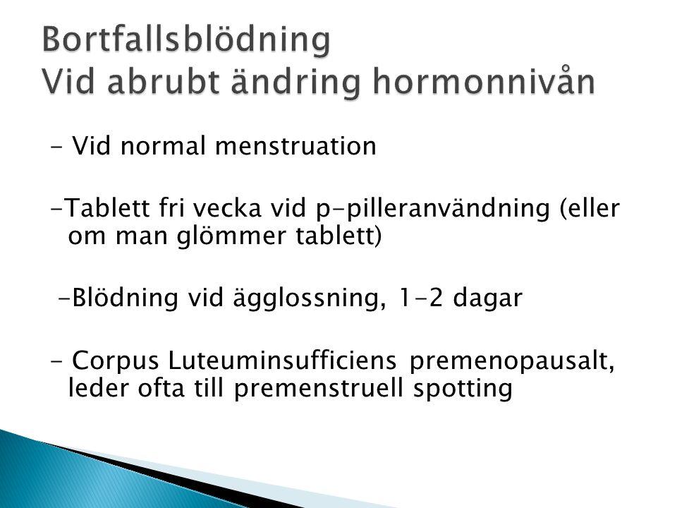 - Vid normal menstruation -Tablett fri vecka vid p-pilleranvändning (eller om man glömmer tablett) -Blödning vid ägglossning, 1-2 dagar - Corpus Luteuminsufficiens premenopausalt, leder ofta till premenstruell spotting