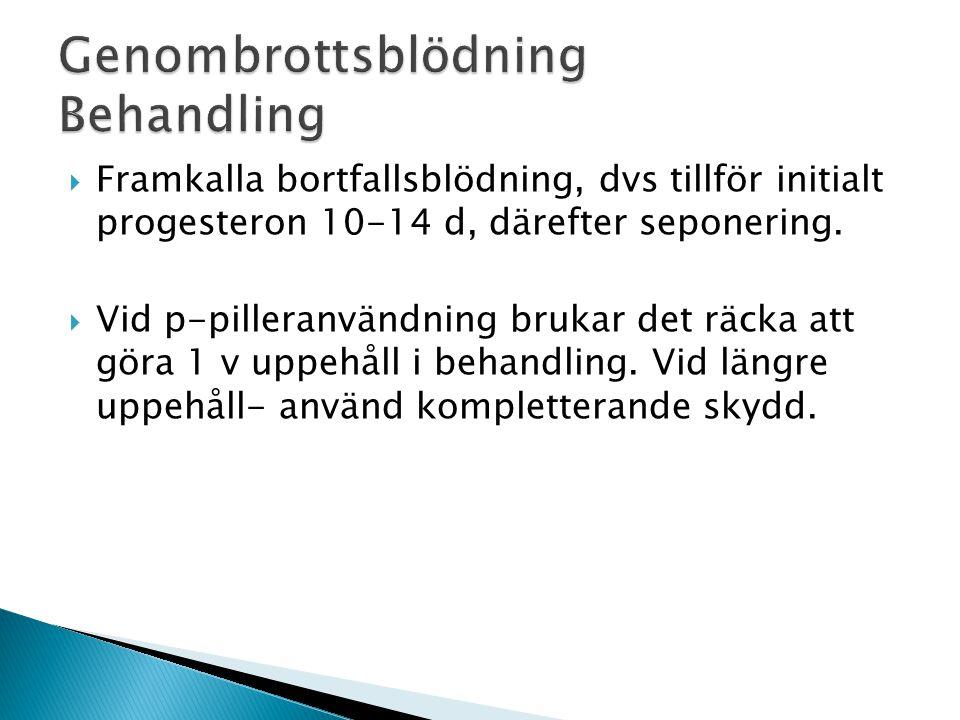  Framkalla bortfallsblödning, dvs tillför initialt progesteron 10-14 d, därefter seponering.