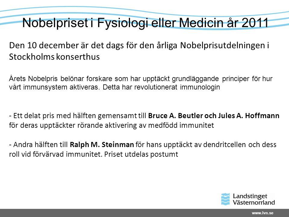 www.lvn.se Den 10 december är det dags för den årliga Nobelprisutdelningen i Stockholms konserthus Årets Nobelpris belönar forskare som har upptäckt grundläggande principer för hur vårt immunsystem aktiveras.