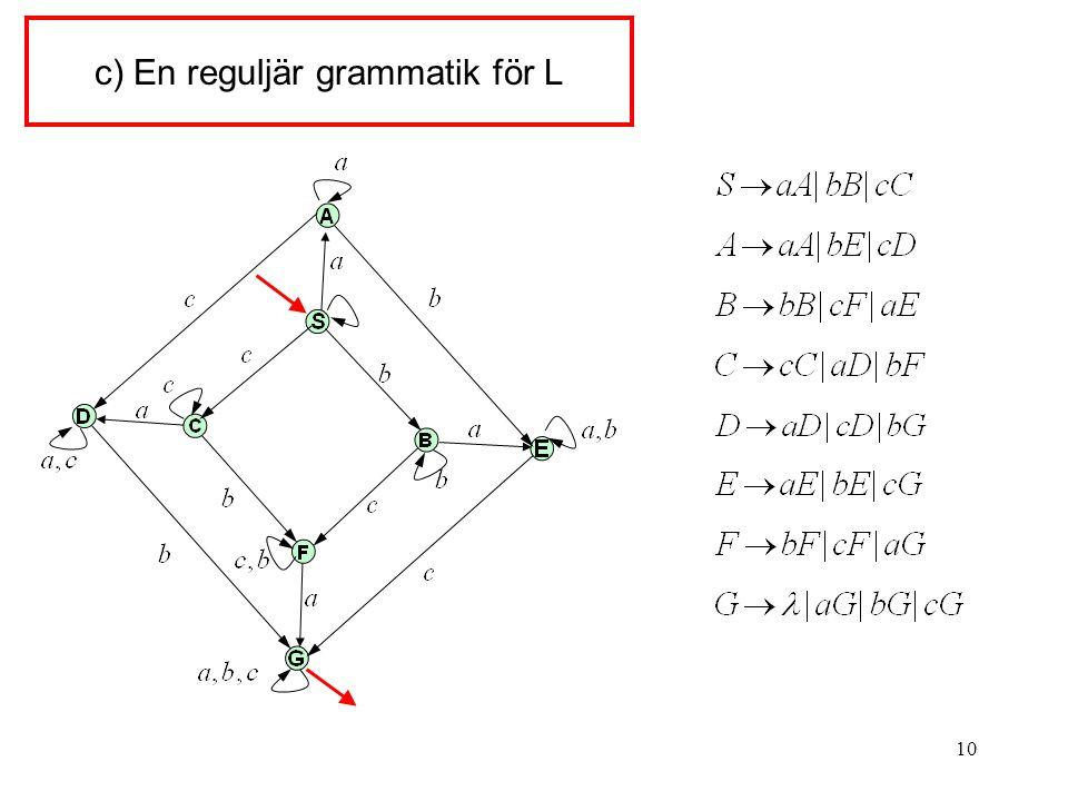 10 c) En reguljär grammatik för L