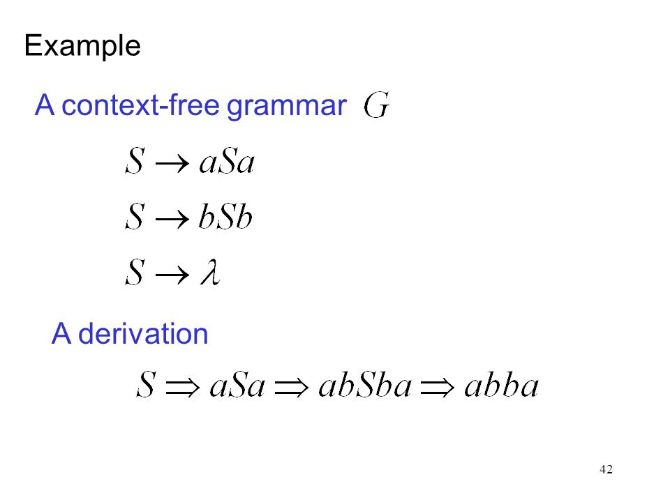 42 A context-free grammar A derivation Example