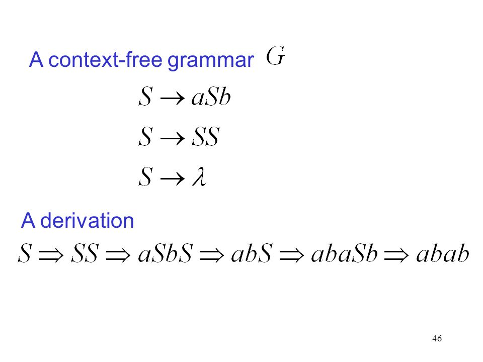 46 A context-free grammar A derivation