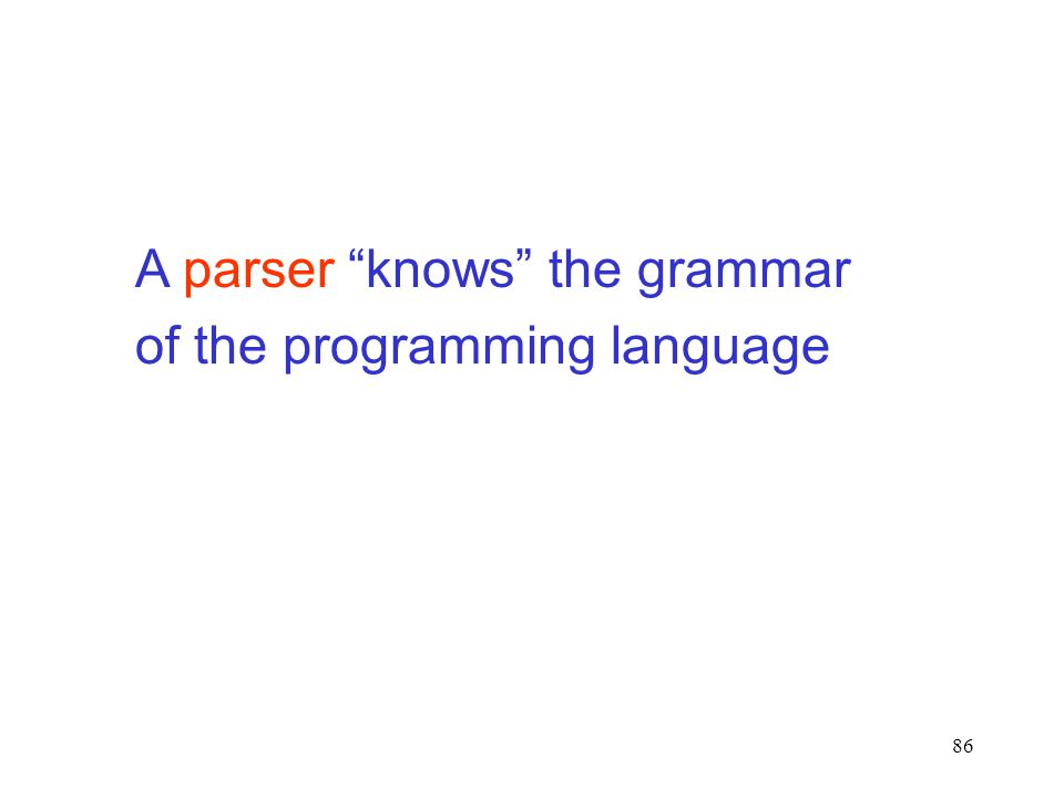 86 A parser knows the grammar of the programming language