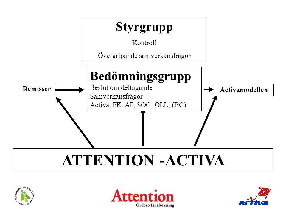 Styrgrupp Kontroll Övergripande samverkansfrågor Bedömningsgrupp Beslut om deltagande Samverkansfrågor Activa, FK, AF, SOC, ÖLL, (BC) ATTENTION -ACTIV