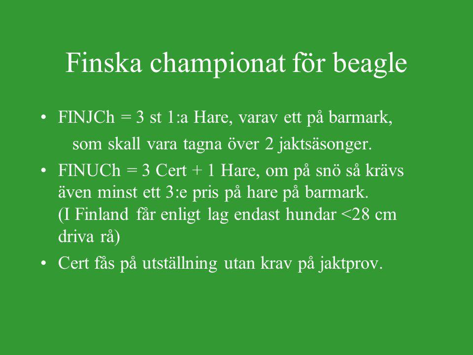 Norska Championat för beagle NJCh = 3st 1:a på jpr, minst 1st på Hare NJCh Räv = 3st 1:a jpr, minst 2st på Räv NUCh = 3 Cert + 1:a Hare, eller 1:a Rå + 2:a Hare eller 1:a Räv + 2:a Hare NVCh = 3st 1:a pris Vspprov Gäller för alla raser.