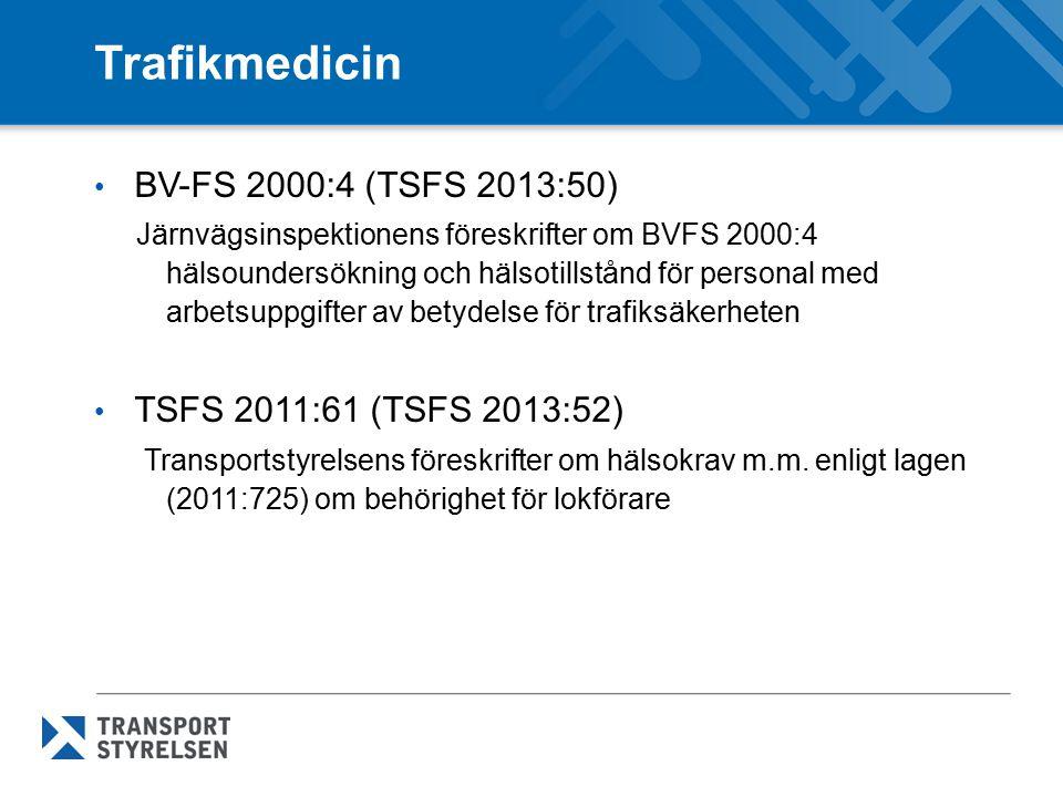 Regler TSFS 2011:58 (TSFS 2013:51) Transportstyrelsens föreskrifter om förarbevis och kompletterande intyg TSFS 2011:60 Transportstyrelsens föreskrifter om förarutbildning m.m.