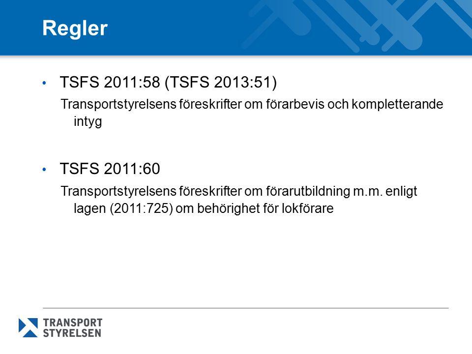 Järnvägsföretag BV-FS 2000:3 Järnvägsinspektionens föreskrifter om utbildning för personal med arbetsuppgifter av betydelse för trafiksäkerheten JvSFS 2007:1 Järnvägsstyrelsens föreskrifter om säkerhetsstyrningssystem och övriga säkerhetsbestämmelser för järnvägsföretag