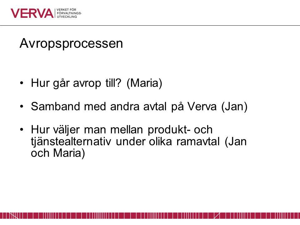 Avropsprocessen Hur går avrop till? (Maria) Samband med andra avtal på Verva (Jan) Hur väljer man mellan produkt- och tjänstealternativ under olika ra