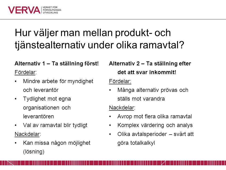Hur väljer man mellan produkt- och tjänstealternativ under olika ramavtal? Alternativ 1 – Ta ställning först! Fördelar: Mindre arbete för myndighet oc