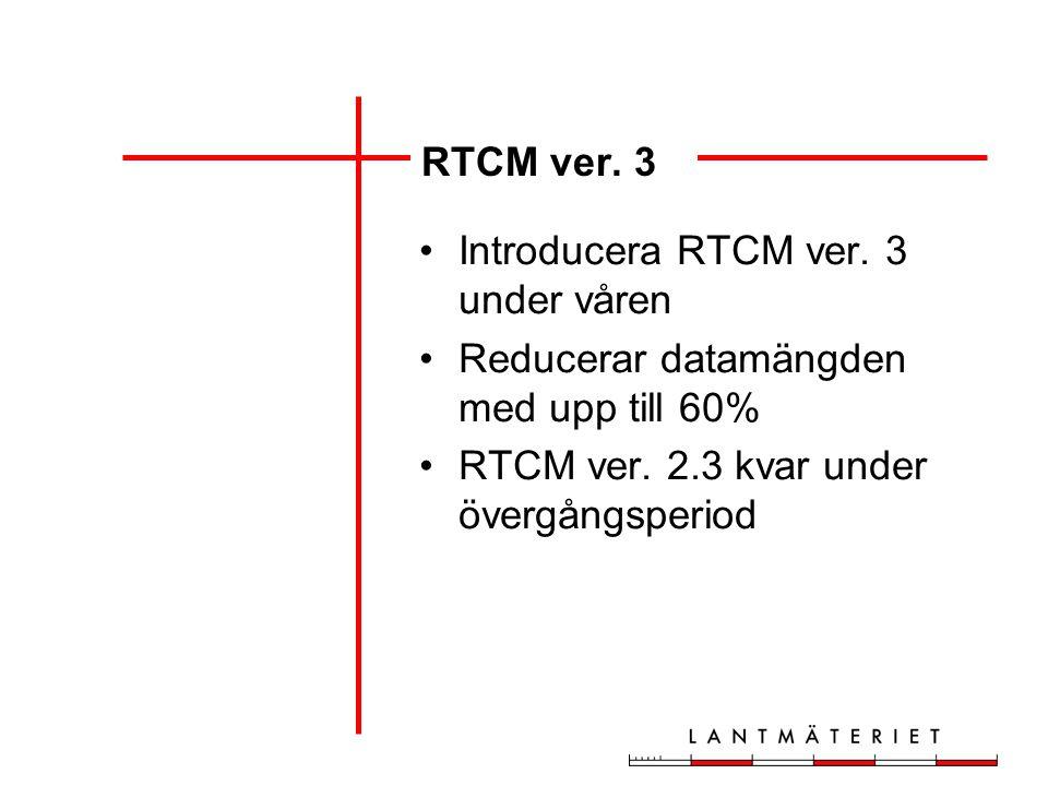 RTCM ver. 3 Introducera RTCM ver. 3 under våren Reducerar datamängden med upp till 60% RTCM ver. 2.3 kvar under övergångsperiod