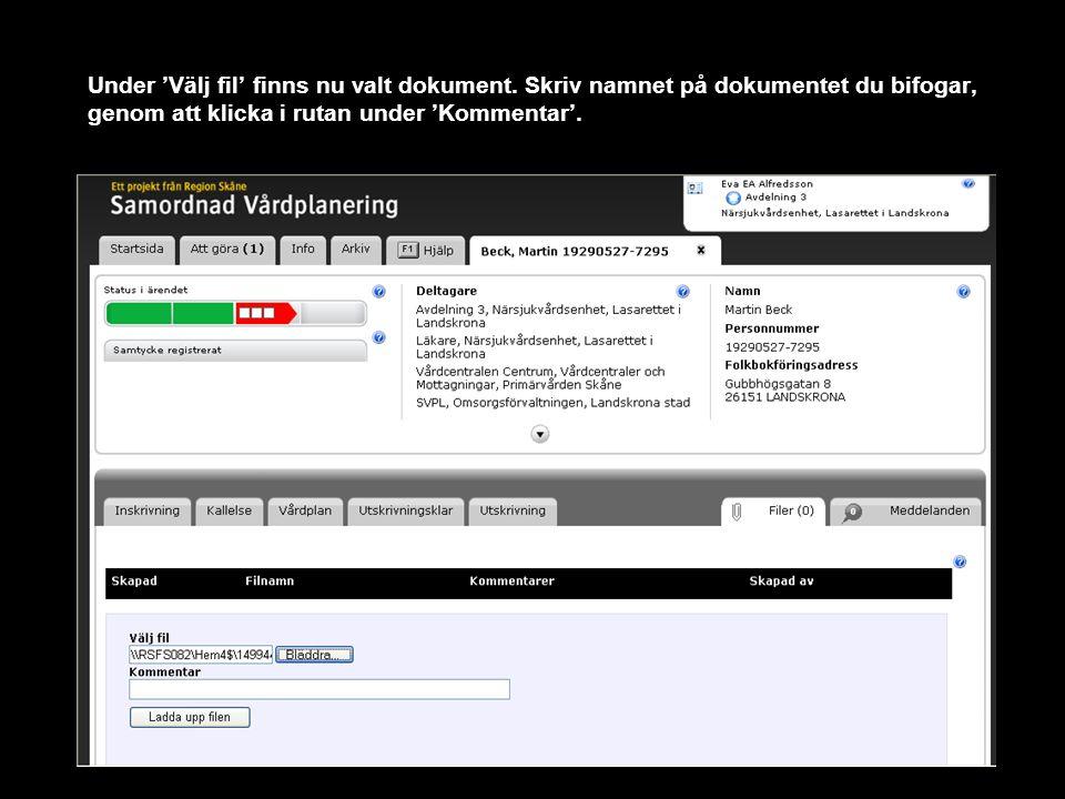 Under 'Välj fil' finns nu valt dokument. Skriv namnet på dokumentet du bifogar, genom att klicka i rutan under 'Kommentar'.