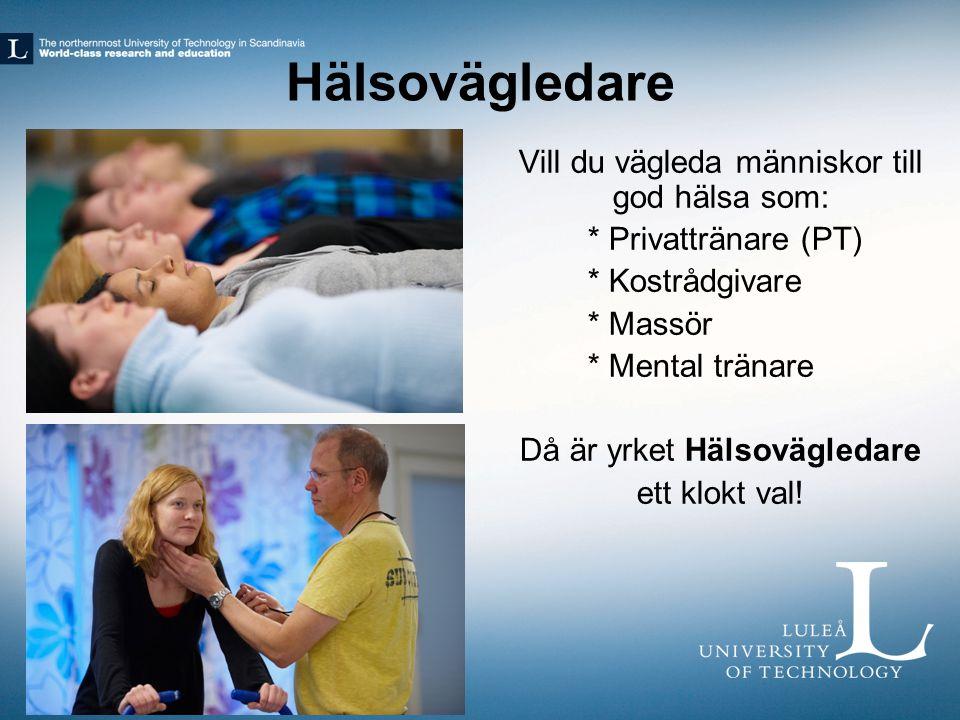 Hälsovägledare Vill du vägleda människor till god hälsa som: * Privattränare (PT) * Kostrådgivare * Massör * Mental tränare Då är yrket Hälsovägledare ett klokt val!