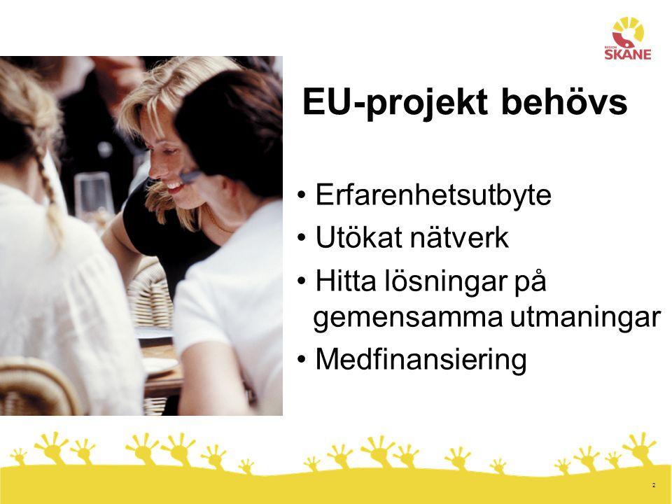 2 EU-projekt behövs Erfarenhetsutbyte Utökat nätverk Hitta lösningar på gemensamma utmaningar Medfinansiering