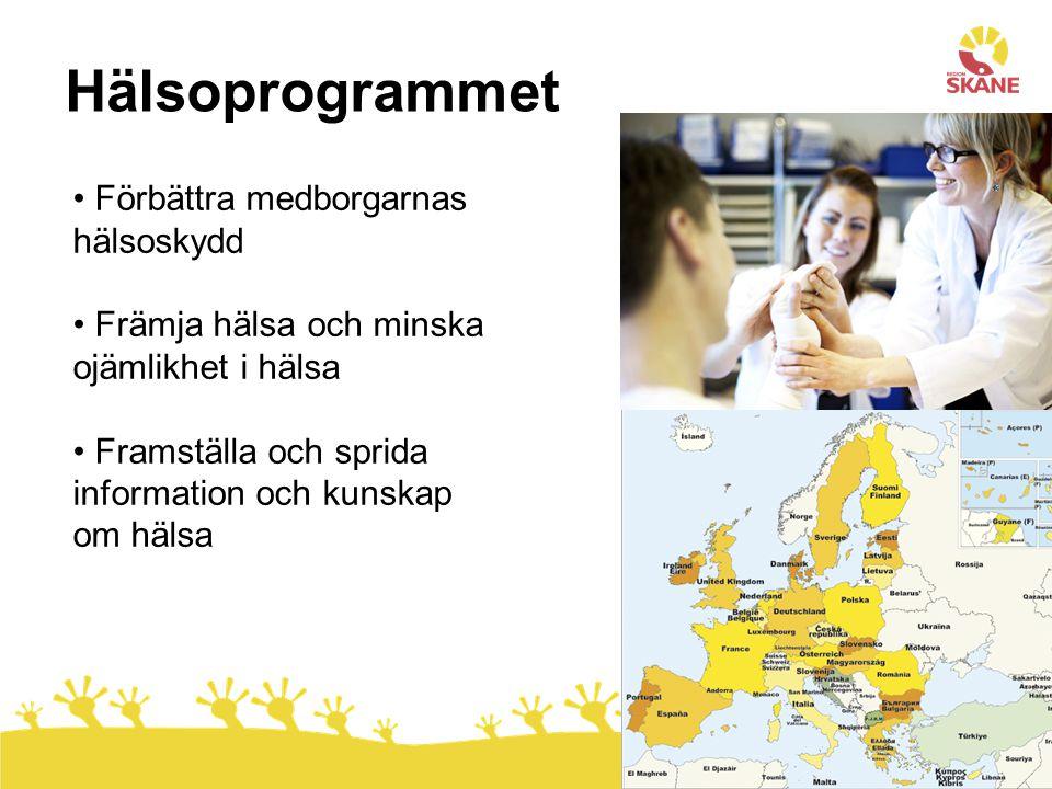 8 Förbättra medborgarnas hälsoskydd Främja hälsa och minska ojämlikhet i hälsa Framställa och sprida information och kunskap om hälsa Hälsoprogrammet