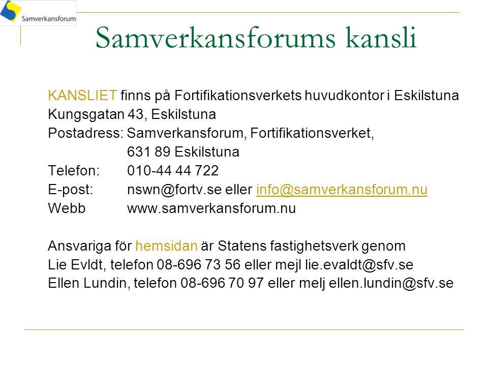 Samverkansforums kansli KANSLIET finns på Fortifikationsverkets huvudkontor i Eskilstuna Kungsgatan 43, Eskilstuna Postadress: Samverkansforum, Fortifikationsverket, 631 89 Eskilstuna Telefon: 010-44 44 722 E-post: nswn@fortv.se eller info@samverkansforum.nu Webbwww.samverkansforum.nu Ansvariga för hemsidan är Statens fastighetsverk genom Lie Evldt, telefon 08-696 73 56 eller mejl lie.evaldt@sfv.se Ellen Lundin, telefon 08-696 70 97 eller melj ellen.lundin@sfv.se