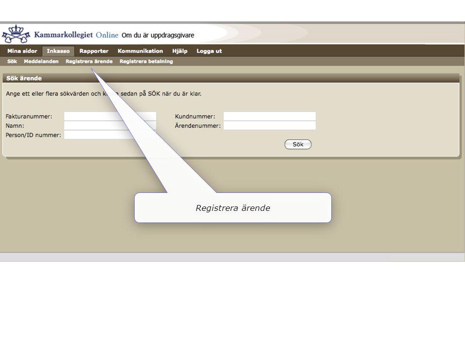 Registrera ärende
