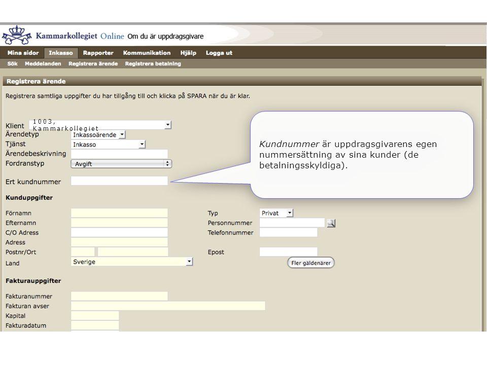 1003, Kammarkollegiet Kundnummer är uppdragsgivarens egen nummersättning av sina kunder (de betalningsskyldiga).