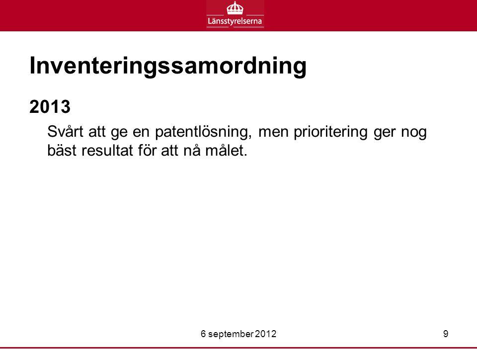 Inventeringssamordning 2013 Svårt att ge en patentlösning, men prioritering ger nog bäst resultat för att nå målet.