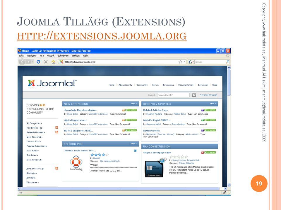 J OOMLA T ILLÄGG (E XTENSIONS ) HTTP :// EXTENSIONS.