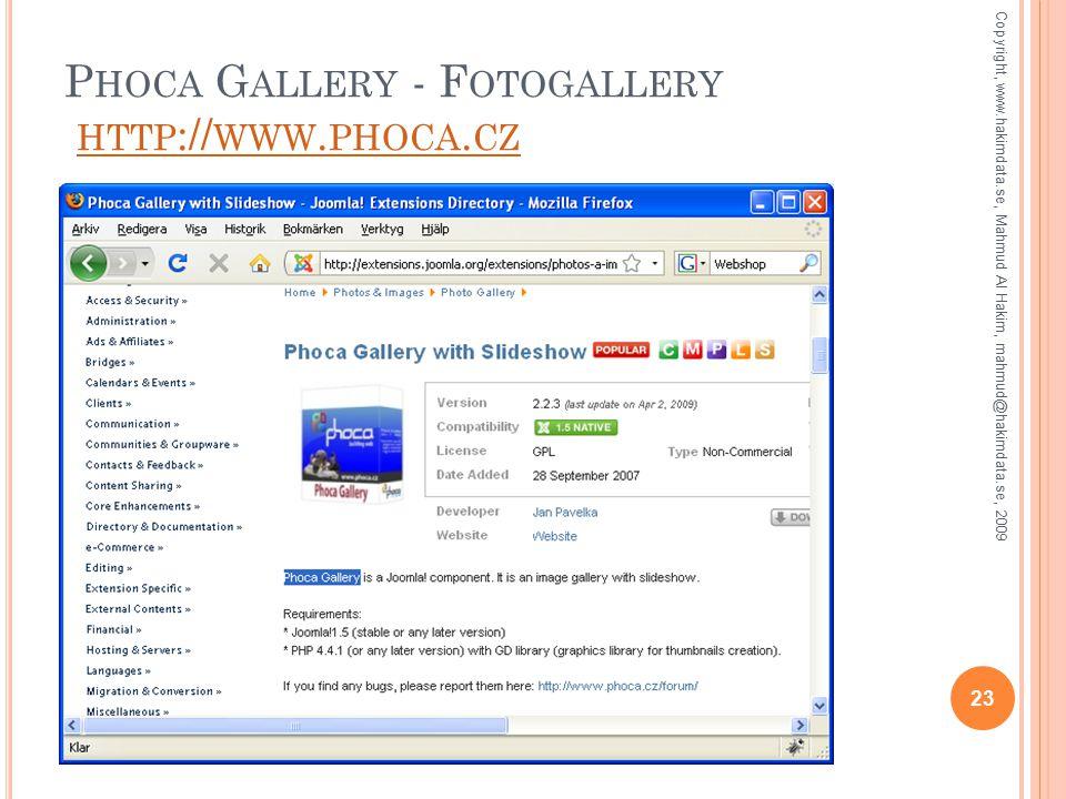 P HOCA G ALLERY - F OTOGALLERY HTTP :// WWW. PHOCA.