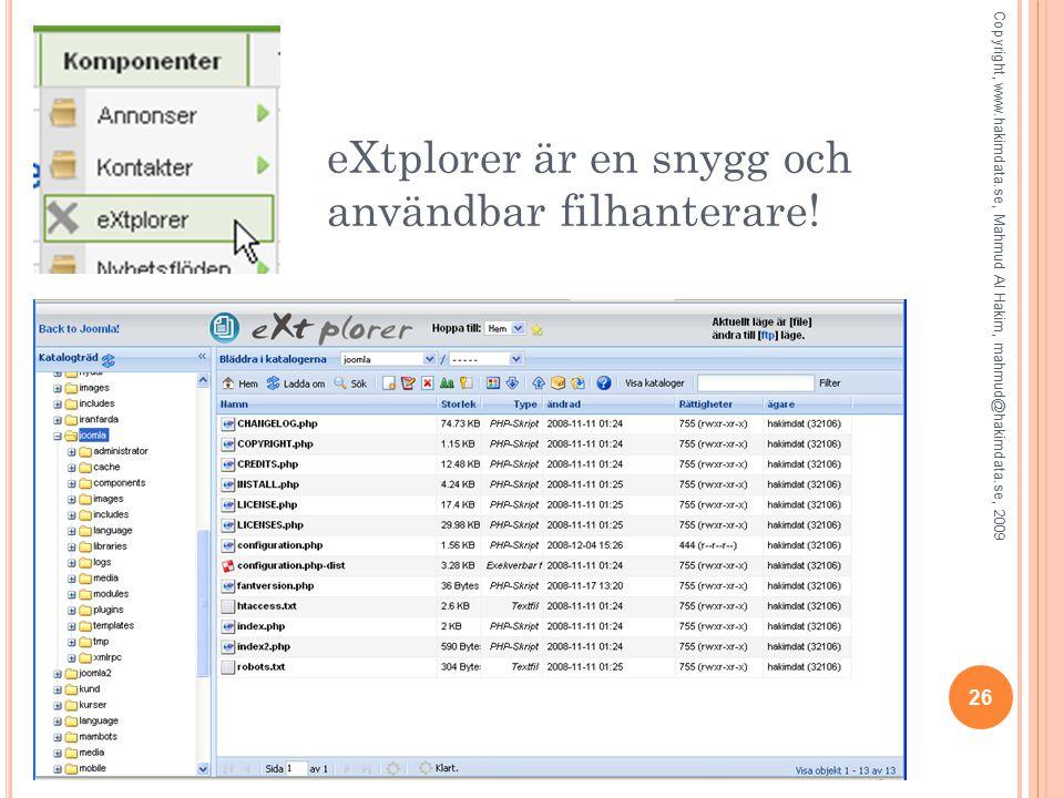 eXtplorer är en snygg och användbar filhanterare.