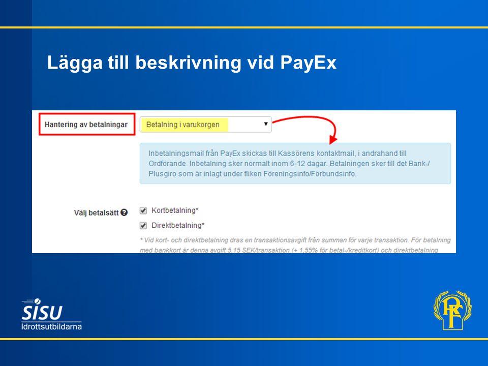 Lägga till beskrivning vid PayEx