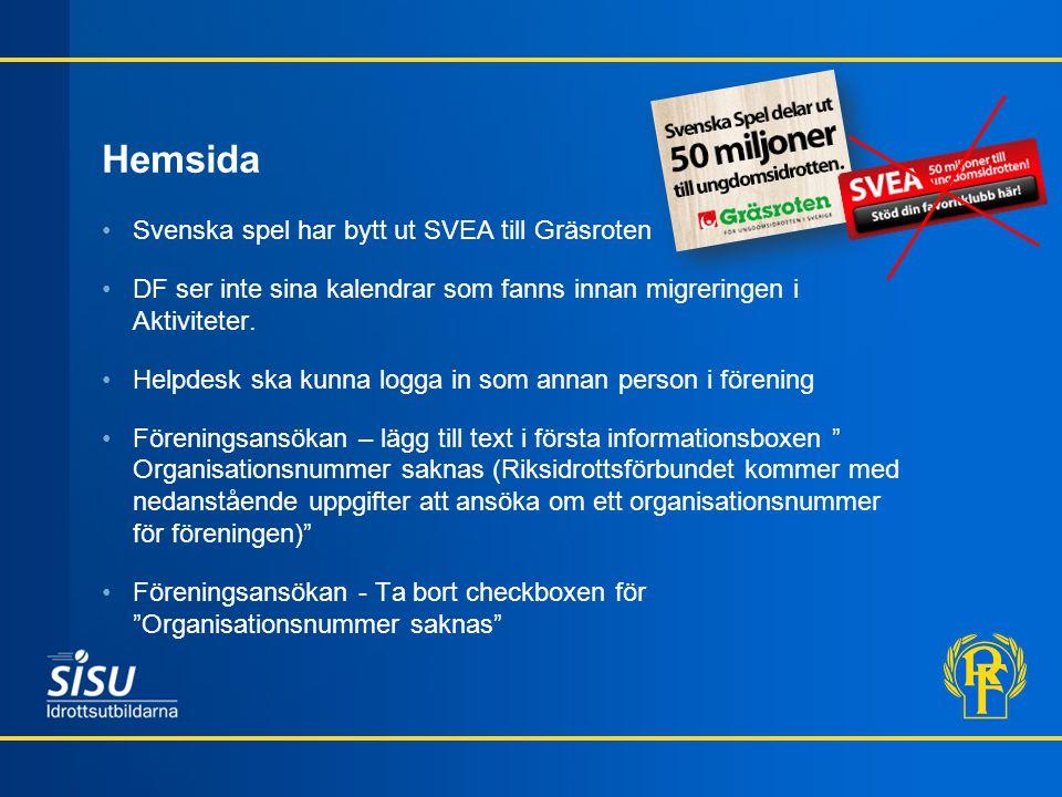 Hemsida Svenska spel har bytt ut SVEA till Gräsroten DF ser inte sina kalendrar som fanns innan migreringen i Aktiviteter. Helpdesk ska kunna logga in