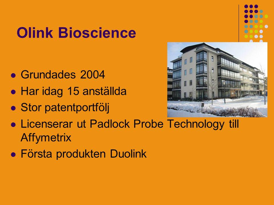Olink Bioscience Grundades 2004 Har idag 15 anställda Stor patentportfölj Licenserar ut Padlock Probe Technology till Affymetrix Första produkten Duolink