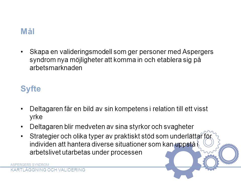 ASPERGERS SYNDROM KARTLÄGGNING OCH VALIDERING Målgrupp Vuxna som har diagnosen Aspergers syndrom