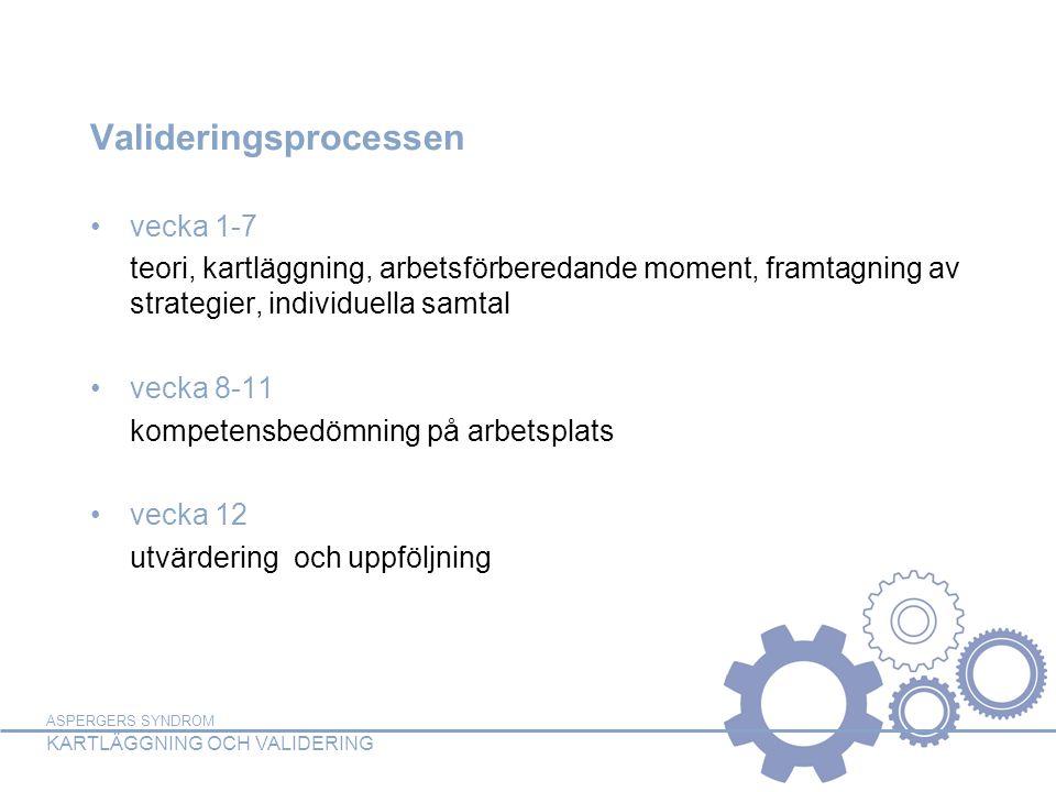 ASPERGERS SYNDROM KARTLÄGGNING OCH VALIDERING Valideringsprocessen vecka 1-7 teori, kartläggning, arbetsförberedande moment, framtagning av strategier