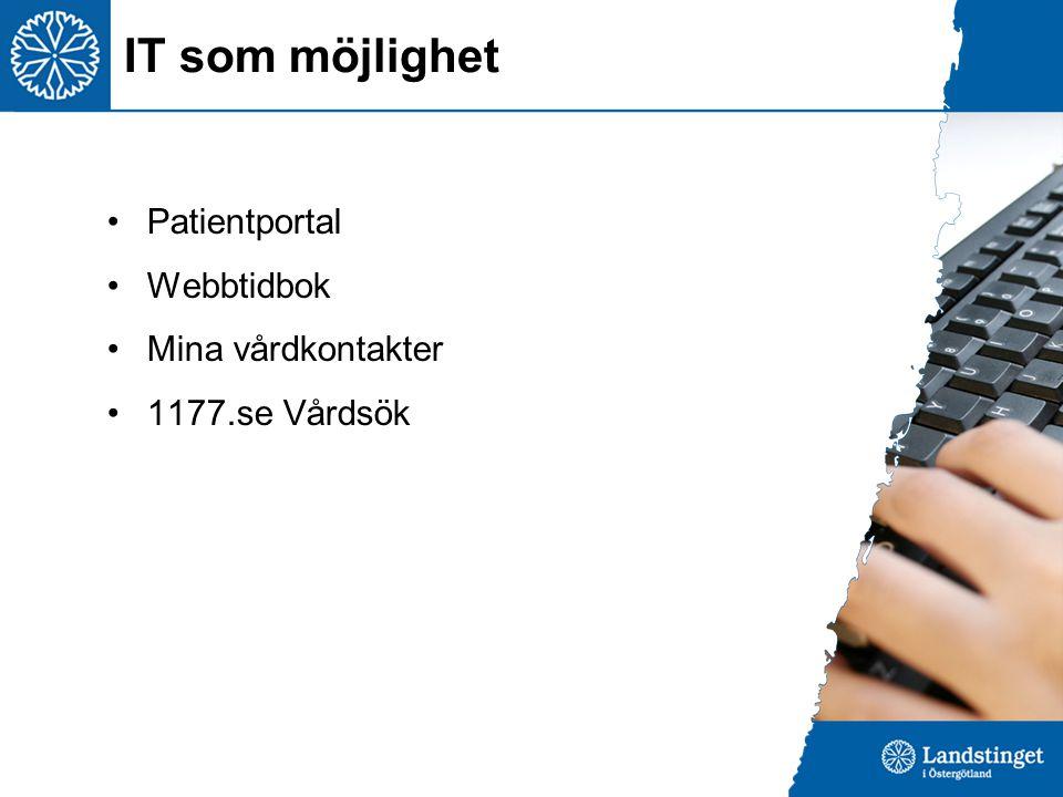 IT som möjlighet Patientportal Webbtidbok Mina vårdkontakter 1177.se Vårdsök