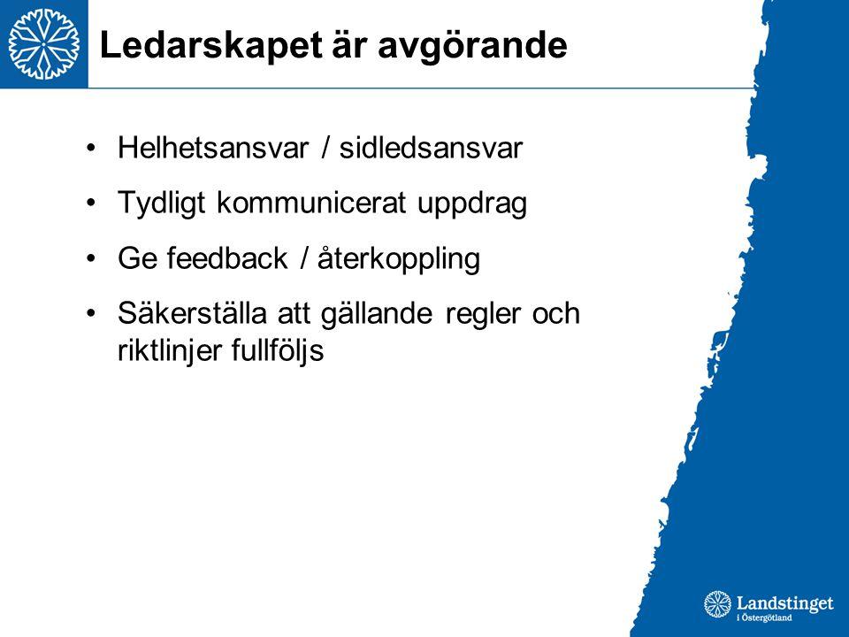 Ledarskapet är avgörande Helhetsansvar / sidledsansvar Tydligt kommunicerat uppdrag Ge feedback / återkoppling Säkerställa att gällande regler och riktlinjer fullföljs